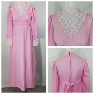 Vintage 70s Maxi Dress Size XS/S High Neck Lace